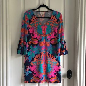 Julie Brown S Colorful Dress with Bell Sleeves